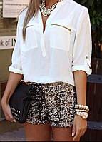 Женская стильная рубашка на пуговицах с карманами