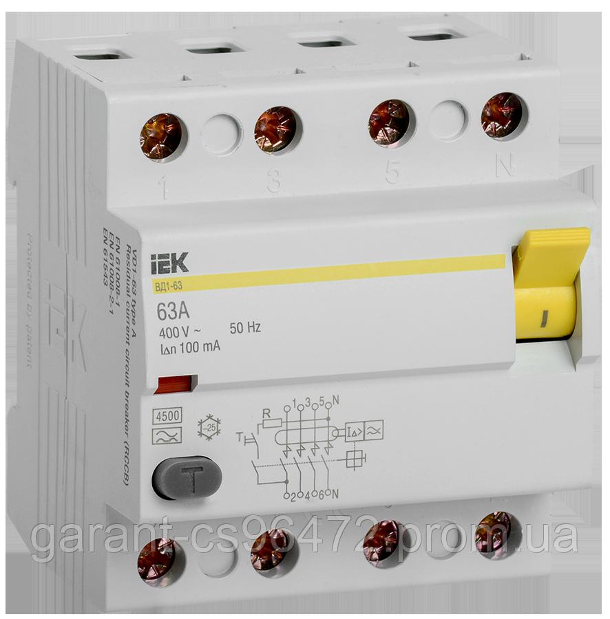 ПЗВ (пристрій захисн. відкл.) ВД1-63 4Р 63А 100мА тип А IEK