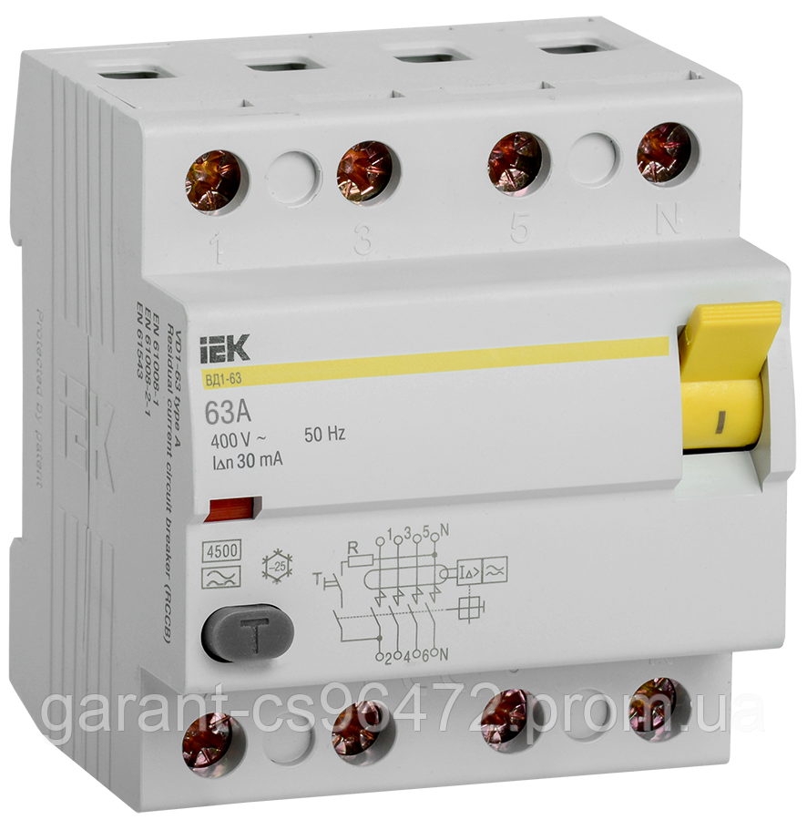 ПЗВ (пристрій захисн. відкл.) ВД1-63 4Р 63А 30мА тип А IEK