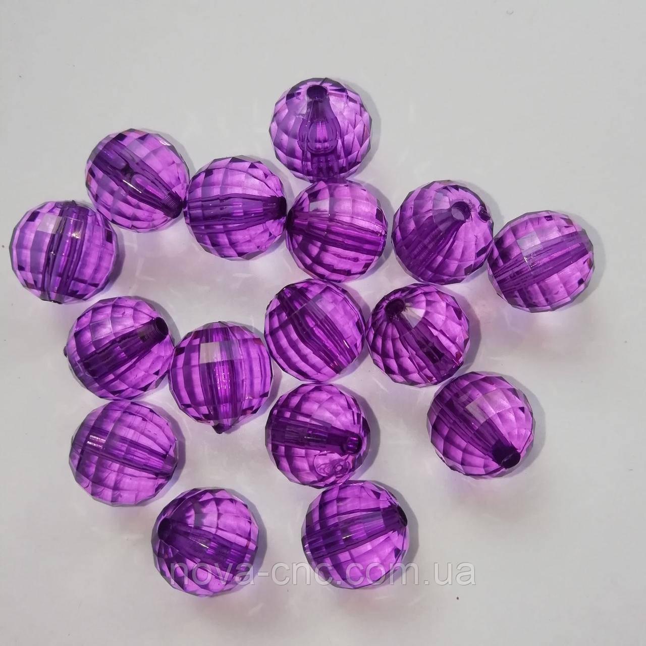 """Намистини акрил """"Куля грані"""" фіолетовий 12 мм 500 грам"""