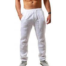 Мужские штаны, лён, р-р 46-48; 50-52 (белый)
