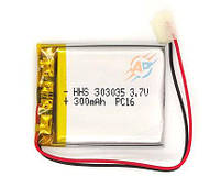 Аккумулятор 300mAh 3.7v 303035 li-ion для видеорегистраторов, блютуз гарнитур, наушников, MP3 плееров