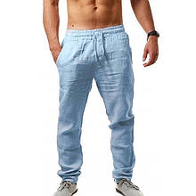 Мужские штаны, лён, р-р 46-48; 50-52 (голубой)