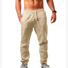 Мужские штаны, лён, р-р 46-48; 50-52 (бежевый)