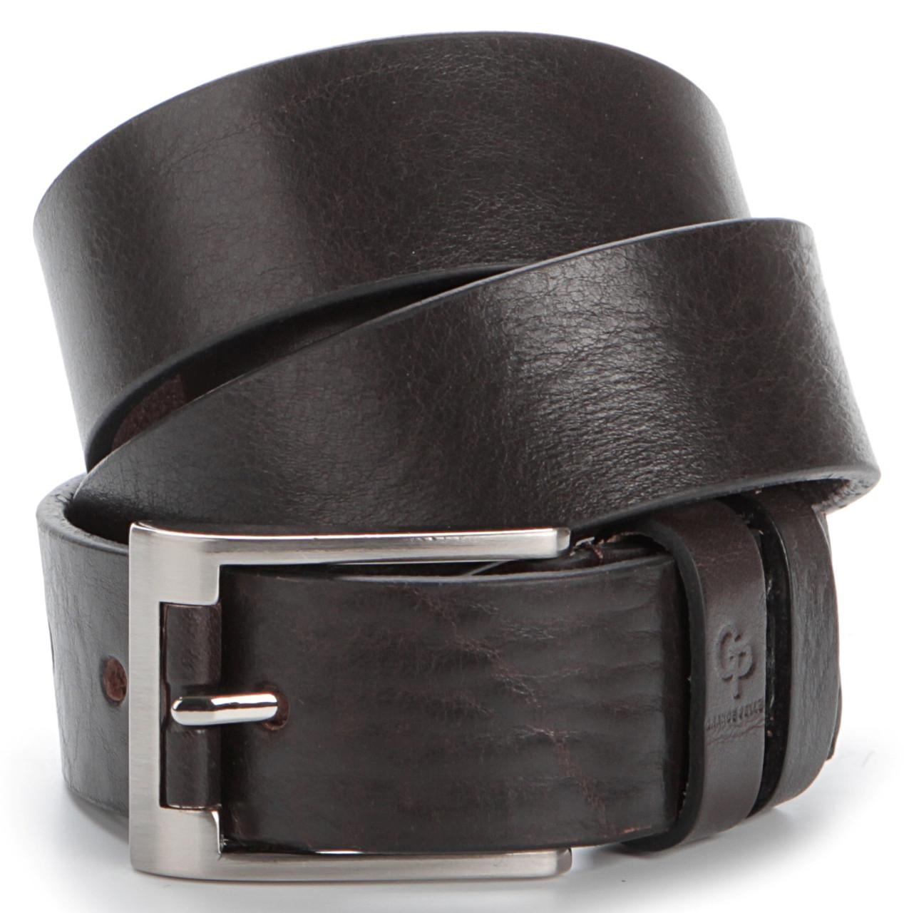 Мужской элитный кожаный ремень GRANDE PELLE 00776 Коричневый