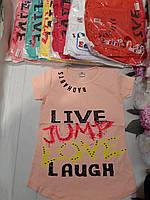 """Футболка дитяча для дівчаток """"Jump Love"""" 8-11 років Кольору при замовленні уточнюйте"""
