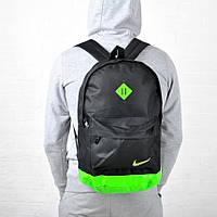Городской спортивный рюкзак Nike / Найк портфель черный с салатовым
