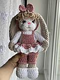 М'яка в'язана плюшева іграшка зайчик ручної роботи., фото 2