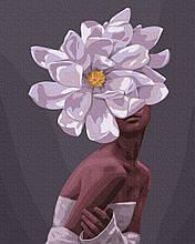 В обьятиях цветов 40*50см Brushme Картина по номерам Эми Джадд Цветы Букет Пионы Люди Девушка Женщина