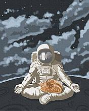 Космическое спокойствие 40*50см Brushme Картина по номерам Космонавт Астронавт Космос ч/б