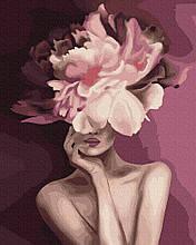 Пурпурний цветок 40*50см Brushme Картина по номерам Эми Джадд Цветы Букет Пионы Люди Девушка Женщина