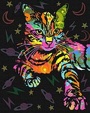 Неоновая кошка 40*50см Brushme Картина по номерам Кот