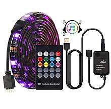 Светодиодная лента синхронизируется  с музыкой USB 5050 5м Работает в  Такт Музыки
