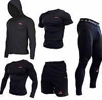 """Компрессионная одежда комплект 5 в 1 Reebok (Рибок) для тренировок Черный Пакистан """"В СТИЛЕ"""""""