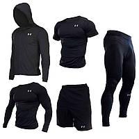"""Компрессионная одежда комплект 5 в 1 Under Armour для тренировок Черный Пакистан """"В СТИЛЕ"""""""