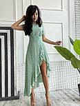 Літнє плаття в горошок з асиметричною довгою спідницею з рюшами і коротким рукавом (р. S, М) 9032355, фото 6