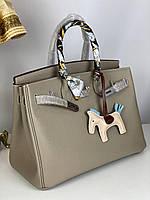 Роскошная женская сумка Гермес Биркин 35 см серо-беж (реплика)