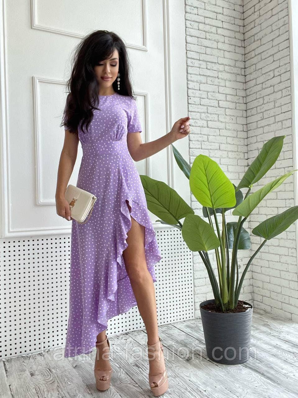 Платье женское в горошек с рюшей (в расцветках)