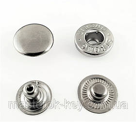 Кнопка металлическая Альфа 15мм. Нержавейка цвет никель (50 шт в упаковке)