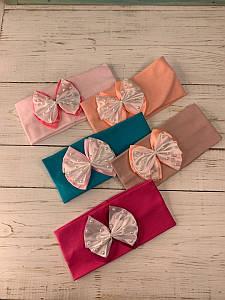 Повязка на голову подвійна з бантиком для дівчинки на весну-літо - Артикул 2855