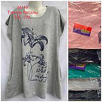 Женская трикотажная туника с карманом Цветы размер батал 54-58, цвета миксом