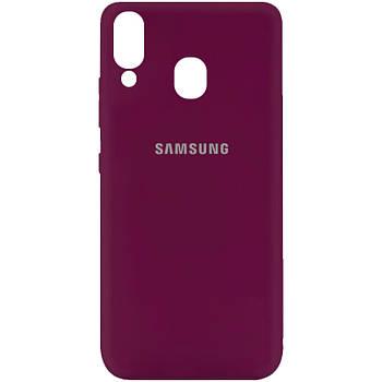 Чехол Silicone Cover My Color Full Protective (A) для Samsung Galaxy A40 (A405F) Бордовый / Marsala