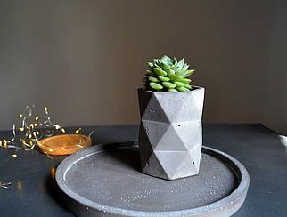 "Бетонну геометричне кашпо/ваза ""Мозаїка 11*8 см /Бетонний горщик /Бетонне кашпо для рослин"