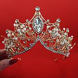Корона діадема під золото з прозорими каменями, висота 8 см., фото 2