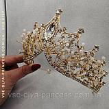 Корона діадема під золото з прозорими каменями, висота 8 см., фото 3