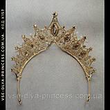 Корона діадема під золото з прозорими каменями, висота 8 см., фото 4