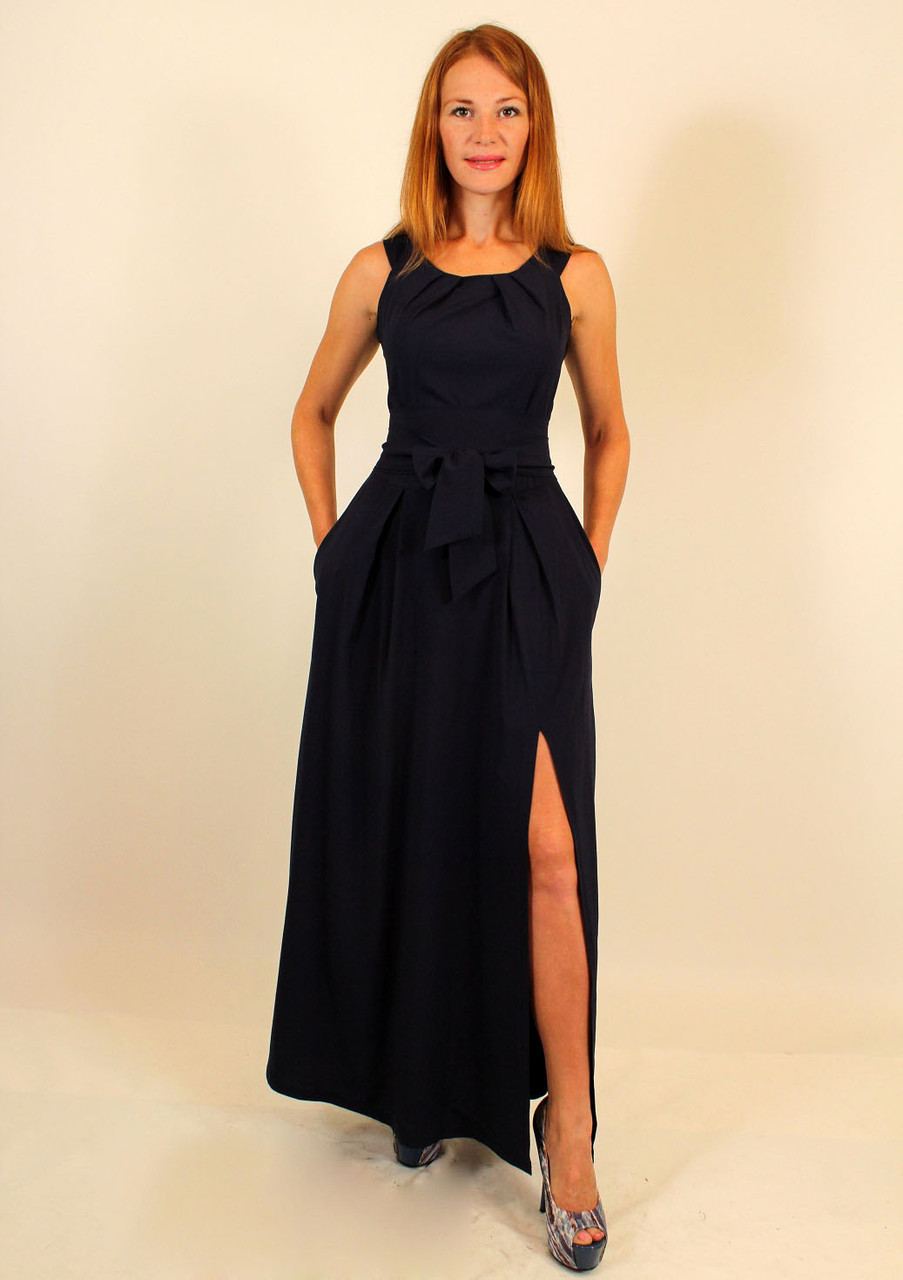Вечернее длинное платье с разрезом на ноге 44-46-48 р ( бирюза, темно-синий, коралл )