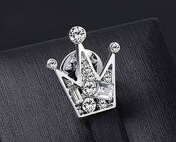 Брошь Серебряная Корона, стильная с камнями, унисекс  «Corona» (серебристая)