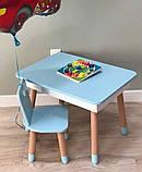 Прямоугольный стол с пеналом и 1 стул с сердечком, фото 2