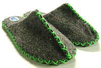 Женские домашние тапочки из войлока ручной работы с зелёным шнурком