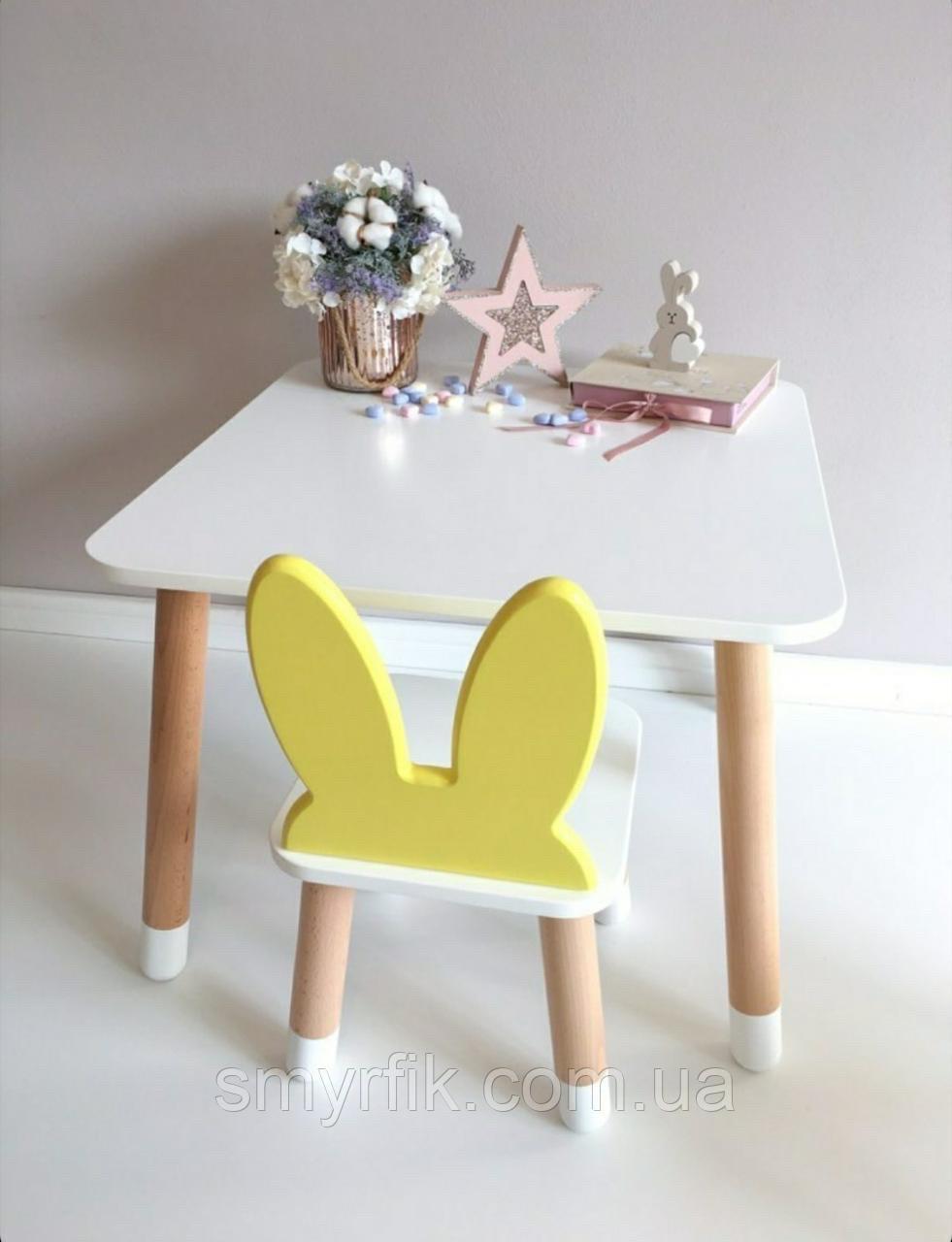 """Дитячий стіл, 1 стілець (дерев'яний стільчик """"зайчик""""нова модель і квадратний столик)"""