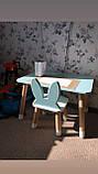 """Дитячий стіл, 1 стілець (дерев'яний стільчик """"зайчик""""нова модель і квадратний столик), фото 3"""