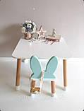 """Дитячий стіл, 1 стілець (дерев'яний стільчик """"зайчик""""нова модель і квадратний столик), фото 2"""