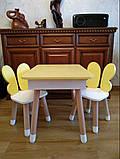 Дитячий стіл з пеналом і 2 стільці (дерев'яний стільчик зайчик 2 шт і прямокутний стіл), фото 2