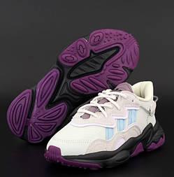 Женские кроссовки Adidas Ozweego весна-осень демисезонные рефлективные бледно фиолетовы. Фото в живую. Реплика