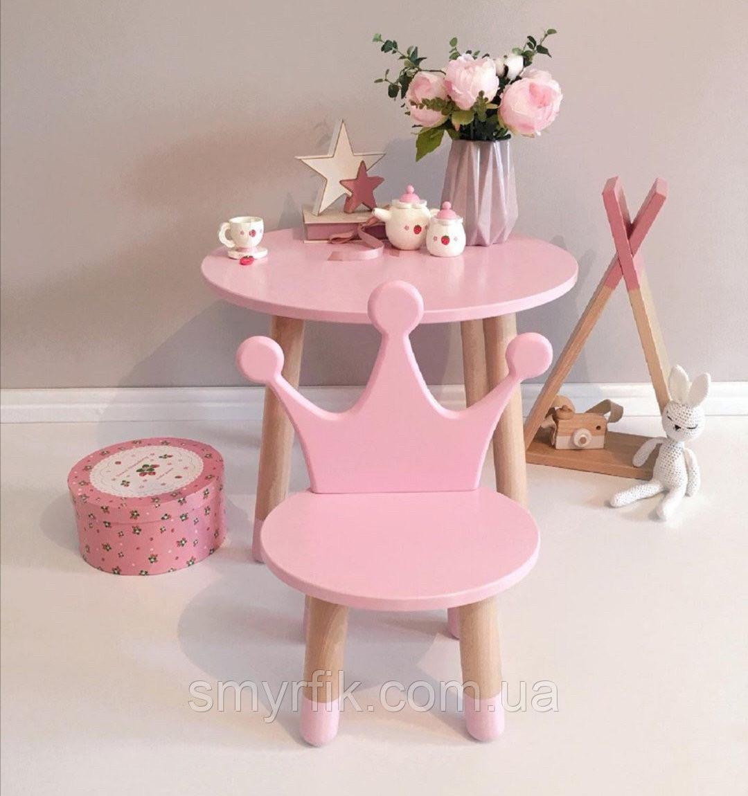 Детский стол и 1 стул (деревянный стульчик корона и столик)