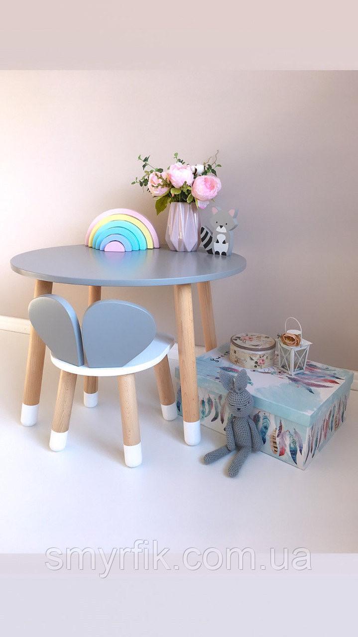 Детский стол и 1 стул (деревянный стульчик мишка и круглый столик)