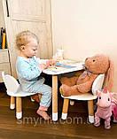 Детский стол и 1 стул (деревянный стульчик мишка и круглый столик), фото 5
