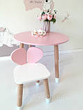 Детский стол и 1 стул (деревянный стульчик мишка и круглый столик), фото 6