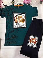 """Костюм літній дитячий для хлопчиків """"Live for music"""" 8-11 років Чорний з зеленим"""