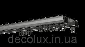 Карниз потолочный алюминиевый усиленный  двухрядный, DS-2 стальной серый