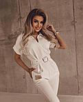 Жіночий комбінезон, костюмка класу люкс, р-р 42-44; 46-48 (молочний), фото 2
