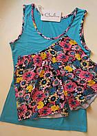 Пижама летняя -  майка голубая с шортиками в цветочном принте