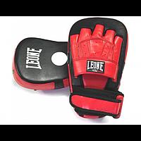 Лапи боксерські шкіряні гнуті Leone Master Protections Red червоний з чорним, фото 1