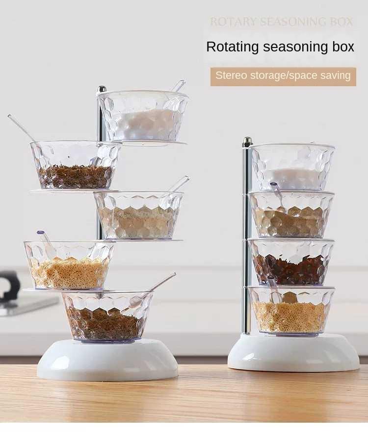 Органайзер кухонний вертикальний обертається. Органайзер для спецій. Кухонний органайзер 5 ємностей
