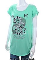 Женская трикотажная туника с рисунком Цветы размер норма 50-54, цвет уточняйте при заказе, фото 1